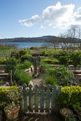 View across kitchen garden to sea, blue gates, chives