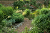 Pink gravel path edged with cobbles, grasses, hylotelephium syn. sedum, view to cascade water feature
