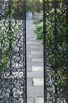 View through black wrought iron gates