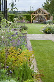 Lawn with mowing strip, timber pavilion, patio
