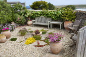 Enclosed gravel terrace, circular paving, gravel, wooden chairs and bench