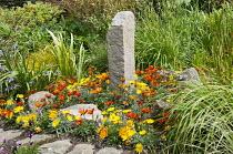 Standing stone in border, gazania, irises, Phormium tenax 'Variegatum'