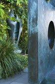 Four-Square (Walk Through), 1966, and Figure for Landscape, 1959-60, by Barbara Hepworth