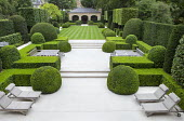 Overview of formal town garden with clipped box domes and cubes, brick gazebo, wooden tables and chairs on Portuguese limestone patio, lawn with mowing stripes