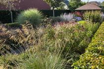 Stipa gigantea, garden room, Veronicastrum 'Fascination', Perovskia atriplicifolia 'Little Spire', Persicaria amplexicaulis 'Fine Pink', Miscanthus sinensis 'Morning Light'