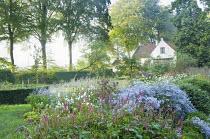 View to cottage, Aster 'Photograph', Persicaria amplexicaulis, Anemone x hybrida 'Honorine Jobert'