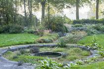 Circular sunken pond in woodland glade, verbascums, Sporobolus heterolepis, Aster lateriflorus var. horizontalis