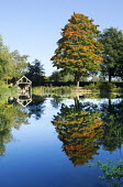View across lake to wooden boathouse, reflections