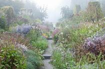 View along path through colourful perennial borders, Persicaria amplexicaulis, eupatorium, aster, kalimeris