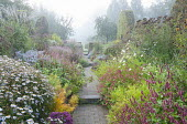 View along path through colourful perennial borders, Persicaria amplexicaulis 'Blackfield' and 'Anne's Choice', eupatorium, aster, kalimeris, amsonia, Carex muskingumensis 'Oehme'