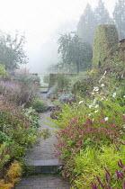 View along path through colourful perennial borders, Persicaria amplexicaulis 'Anne's Choice', Carex muskingumensis 'Oehme', eupatorium, aster, kalimeris, cosmos