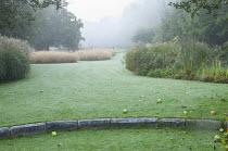 Step in lawn, fallen apples, drifts of grasses