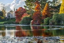 View across lake to Sheffield Park House, Nyssa sylvatica, Taxodium distichum
