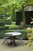 Table and chairs on brick patio, formal garden with clipped yew hedges, Catalpa bignonioides 'Aurea'