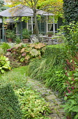 Table and chairs under umbrella on patio by house with shutters, Darmera peltata, tricyrtis, clipped box hedges