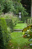 Urn focal point, step in lawn, clipped box hedges, tricyrtis