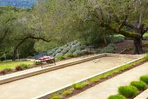 Petanque pitch, benches, Mediterranean garden