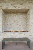 Built-in fire pit, bench