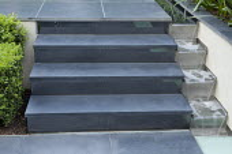 Steps to upper terrace, rill cascade