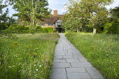 View down paved path through wildflower meadows to house