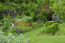 Herb garden, Geum 'Totally Tangerine', topiary, beehive compost