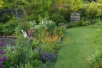 Herb garden, Geum 'Totally Tangerine', beehive compost, sage