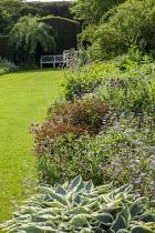 Country garden, geraniums, Hosta 'Patriot', bench overlooking lawn