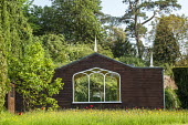 Contemporary pavilion, wildflower and tulip meadow