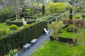 Overview of contemporary garden with 'rooms', yew hedges