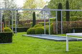 Contemporary pergola, formal pool in lawn, cloud-pruned box hedge, hornbeam and box hedges