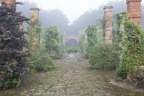Rose, grape vine, wisteria and Fallopia baldschuanica climbing on brick piers, view towards gate