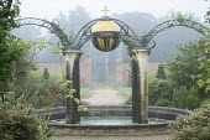 Orb water feature, circular pool, Queen Elizabeth II Golden Jubilee fountain