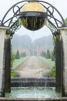 Orb water feature suspended circular pool, Queen Elizabeth II Golden Jubilee fountain