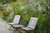 Wooden table and chairs on patio, Tagetes 'Cinnabar' and 'Harlequin' in border with Persicaria orientalis, Helenium 'Sahin's Early Flowerer', Canna indica 'Purpurea'