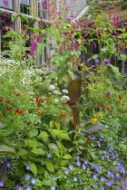 Persicaria orientalis, Ammi majus, Tagetes 'Cinnabar', Canna indica 'Purpurea', Erigeron annuus, Geranium 'Rozanne', Salvia confertiflora