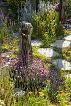 Seaside-themed garden, driftwood, Armeria maritima, Stachys byzantina, Eschscholzia californica, Linaria purpurea