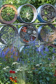Screen made from recycled oil drums, wildlife wall, insect 'hotel', Agastache 'Blackadder'