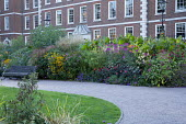 Inner Temple gardens, gravel path, bench