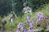 Stone statues by conifer, anemones in wildflower meadow