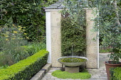 Contemporary water fountain and pool on stone terrace, Muehlenbeckia complexa, living green wall, low clipped box hedge border edging, fennel, granite panels with shot-blasted fern pattern