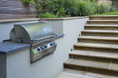 Outdoor grill, barbecue, Yorkstone steps