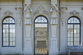 Entrance to the Orangery flanked with classical stone statues
