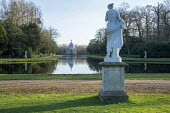 The Long Water, view to Archer Pavilion, classical statue on stone plinth