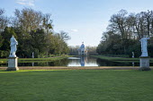 The Long Water, view to Archer Pavilion, classical statues on stone plinths
