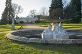 Classical fountain and pond, view to Orangery
