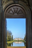 View through doorway of Pavilion across Long Water to Wrest Park House