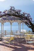 Wisteria climbing over arbour, tables and chairs on mediterranean garden terrace on shore of Lake Como