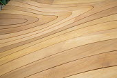 Carved pattern in wooden decking