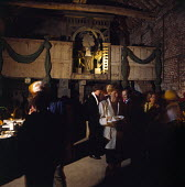 Interior of barn decorated for party