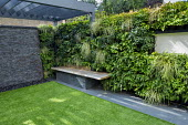 Astroturf lawn, adjustable contemporary pergola, stone wall water cascade, living green wall with built-in bench, Asplenium scolopendrium, Polypodium vulgare, Carex oshimensis 'Evergold', Pachysandra...
